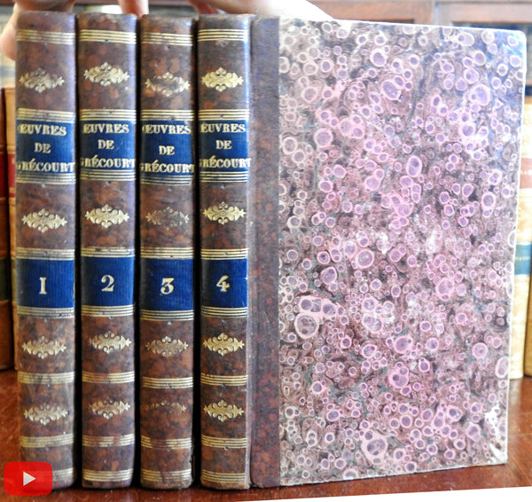 Works of Grecourt Oeuvres 1795 Paris French set 4 vols. nice old leather bindings