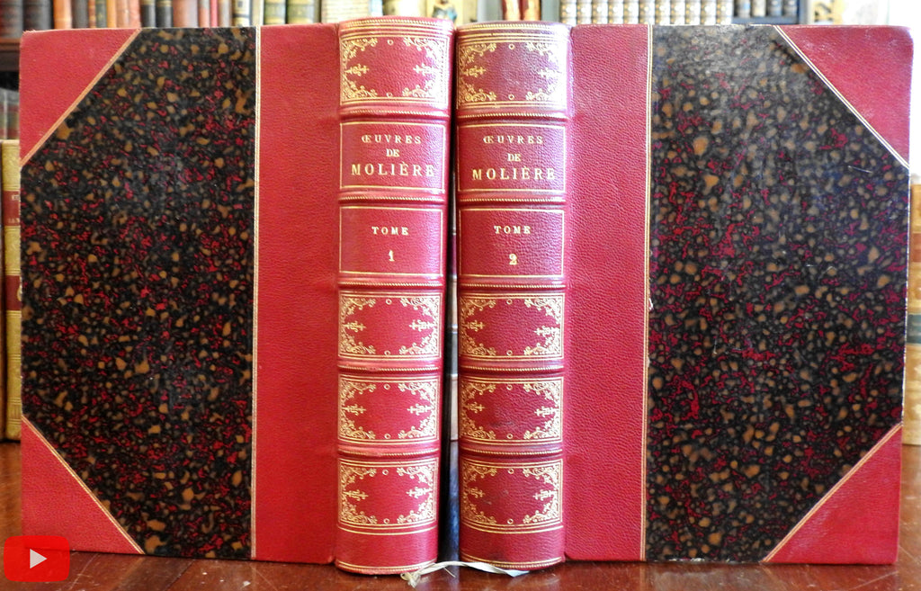 Moliere Complete Works c.1880's beautiful 2 vol. leather set illustrated French