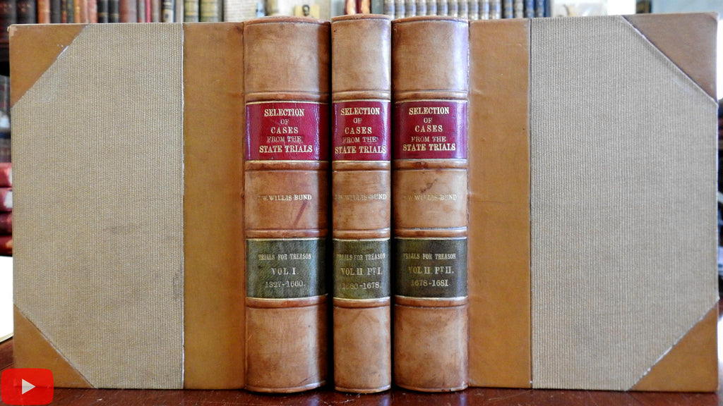 England English Law History of Treason Cases 1879 Willis-Bund set 3 vols Leather