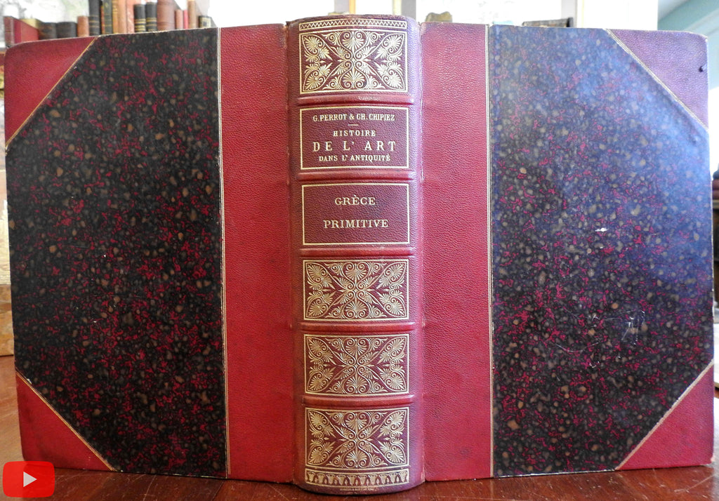 Primitive Greek Art Ancient Greece Art 1885 Perrot leather book well illustrated