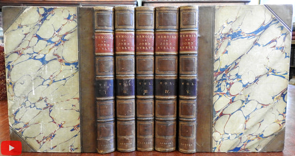 Memoirs John Evelyn 1827 lovely 5 vol. leather set books w/ engravings