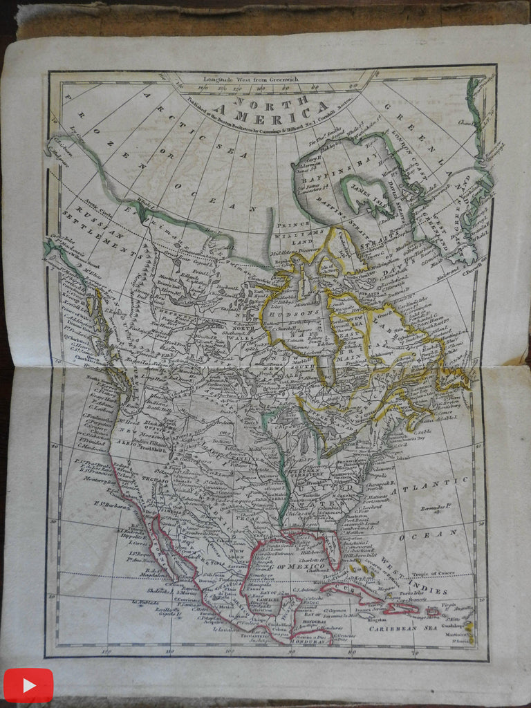 American School Atlas c.1820 Cummings & Hilliard complete w/ 8 world maps