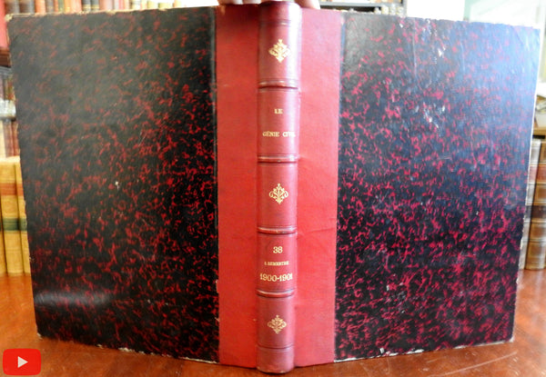 European Civil Engineering 1900 Journal Illustrated Le Genie Civil weekly leather book