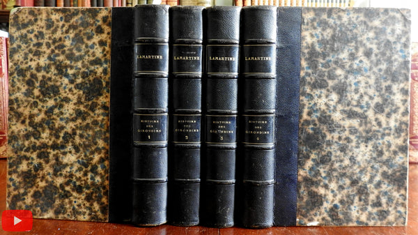 Lamartine History of Girondins 1858 set 4 vols leather books 40 engravings