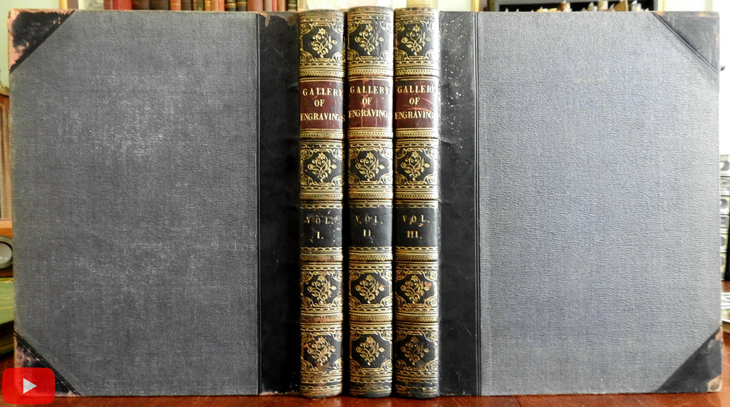 Wright Gallery of 193 fine steel engravings 1844 London 3 vol. leather set books