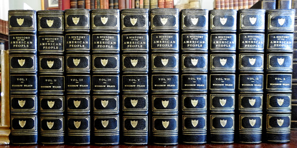 American History 1918 Woodrow Wilson lovely illustrated leather set 10 vols.