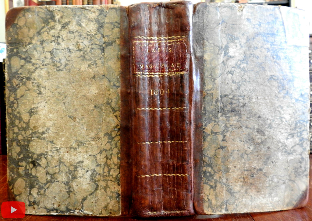 Lady's Magazine 1804 London bound volume 12 vols w/ many plates + fashion
