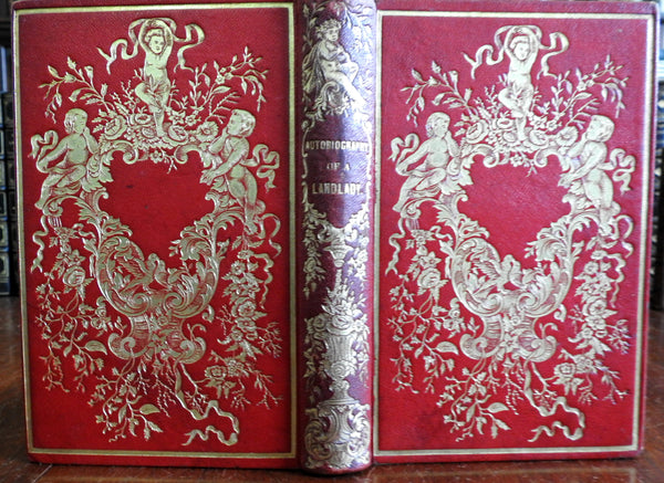 American cherubs decorative Leather Gift Book binding 1854 Landlady N.H.