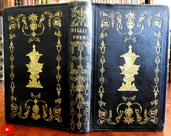 Willis' Poems 1845 in gorgeous ornate pictorial publishers leather Gift binding