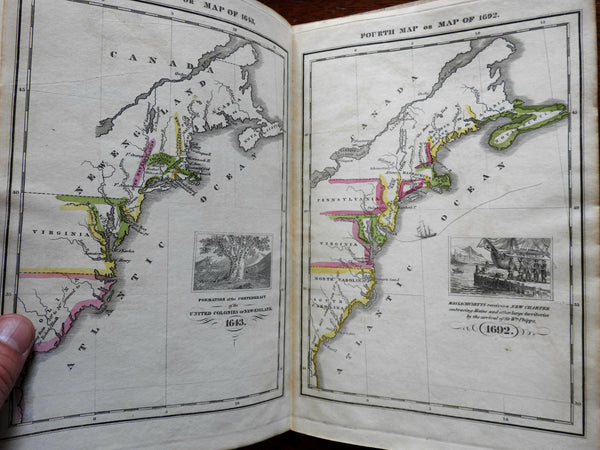 Emma Willard School Atlas 1828 complete rare book w/ 8 maps battles Indians etc.