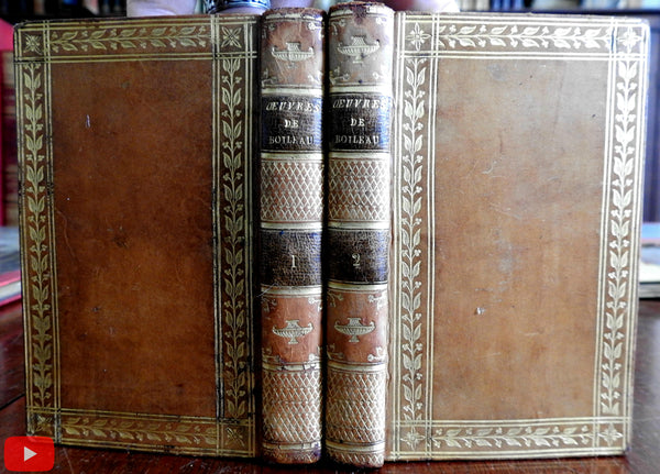 Oeuvres de Boleau-Despereaux 1810 French set 2 volumes fine decorative leather