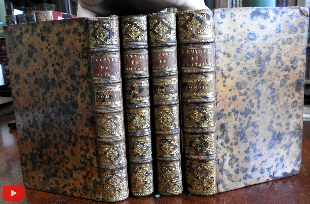 Voltaire Works 1739 Desbordes beautiful rare 4 vol. set lovely leather w/ engraved plates