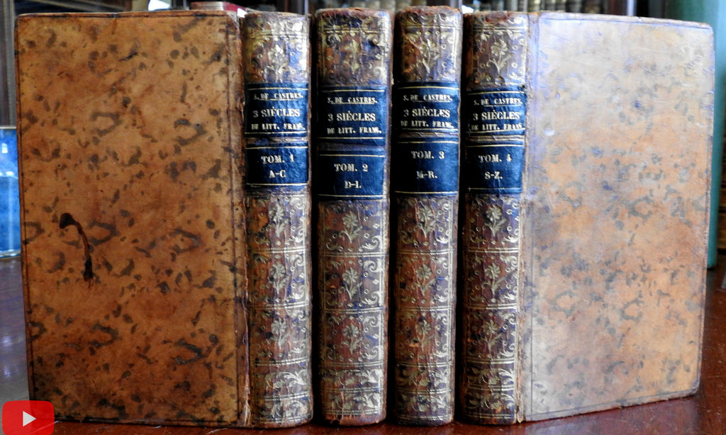 France French Writers Bibliography 1774 Amsterdam 4 vol leather set scarce