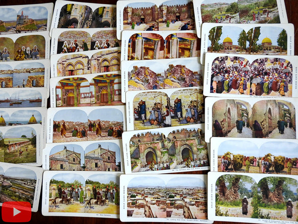 Holy Land 1904 Ingersoll boxed group of 67 color stereview cards scarce lot