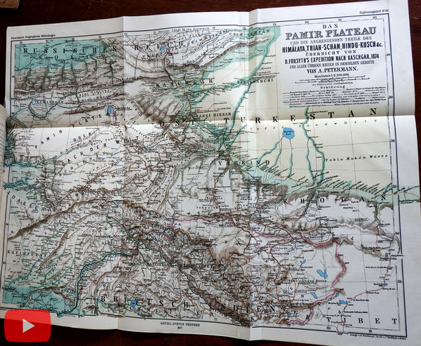 East Turkestan Pamir-Plateau Yarkund 1873-4 Sir Forsyth large detailed map & article