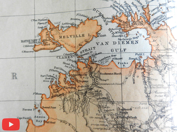 Northern Australia 1871 Petermann Meinicke 4 large detailed maps w/ article