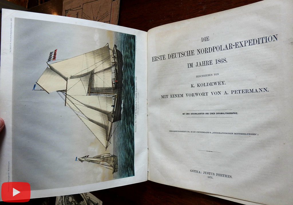 First German North Pole Expedition 1868 Koldewey Petermann 2 maps & color print