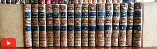 Literature ancient & modern 1815 LaHarpe lovely French leather set 16 vols complete