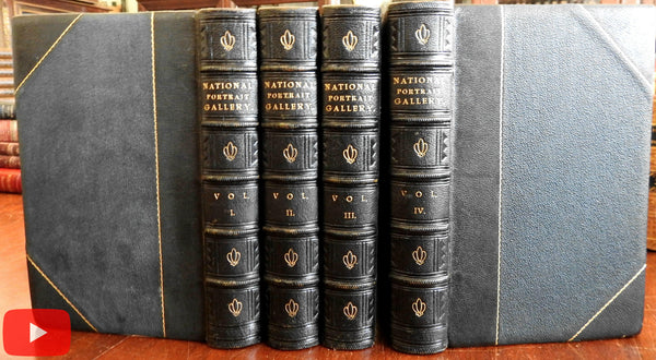 National Portrait Gallery 1834-40 Longacre & Herring 4 vol leather set 154 plates A+