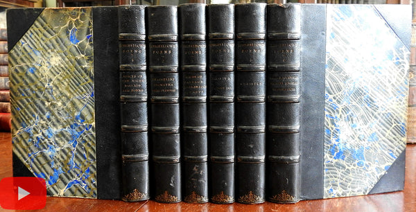 H.W. Longfellow Poetical Works complete 1892 Fine leather set 6 vols. w/ portraits