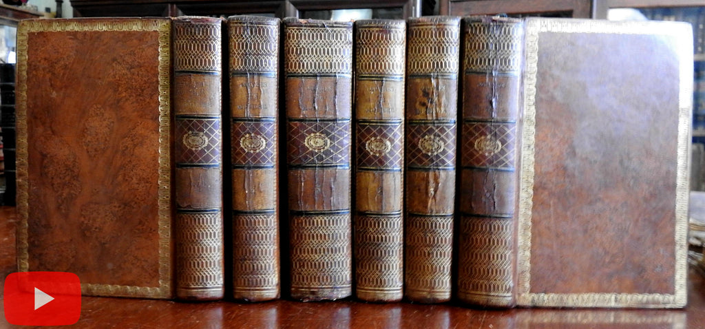 Moliere Works 1804 Lovely French leather set 6 vols w/ 20+ engraved plates