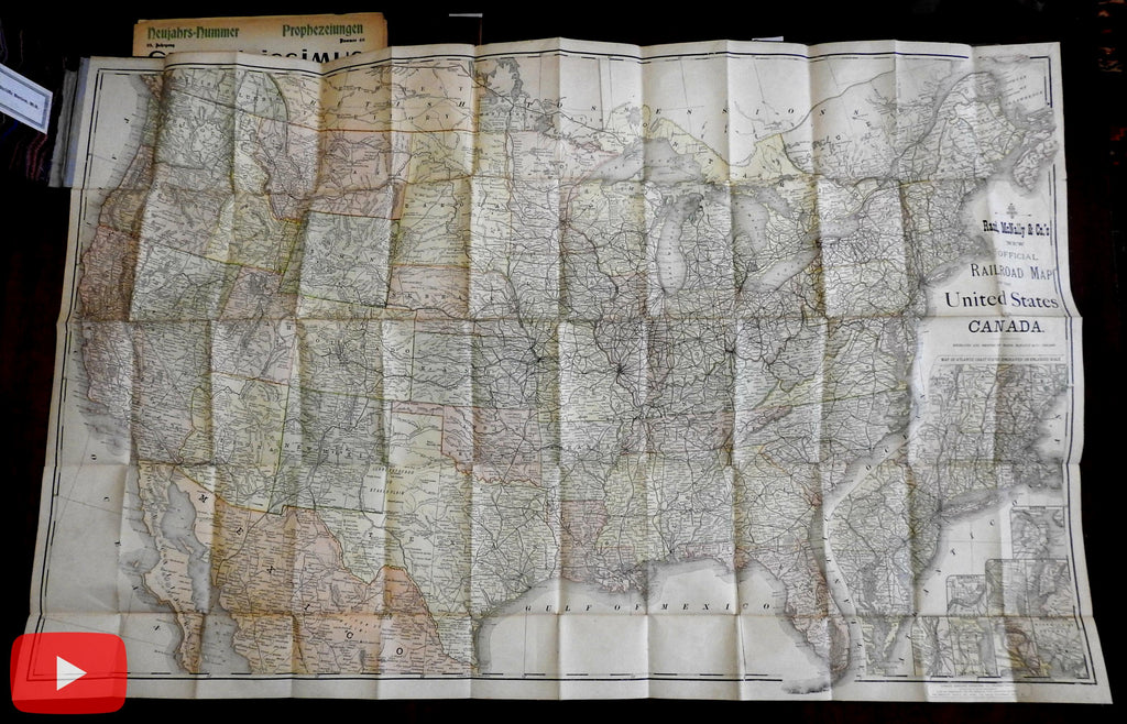 United States c.1907 Linen backed RR map huge by Rand McNally