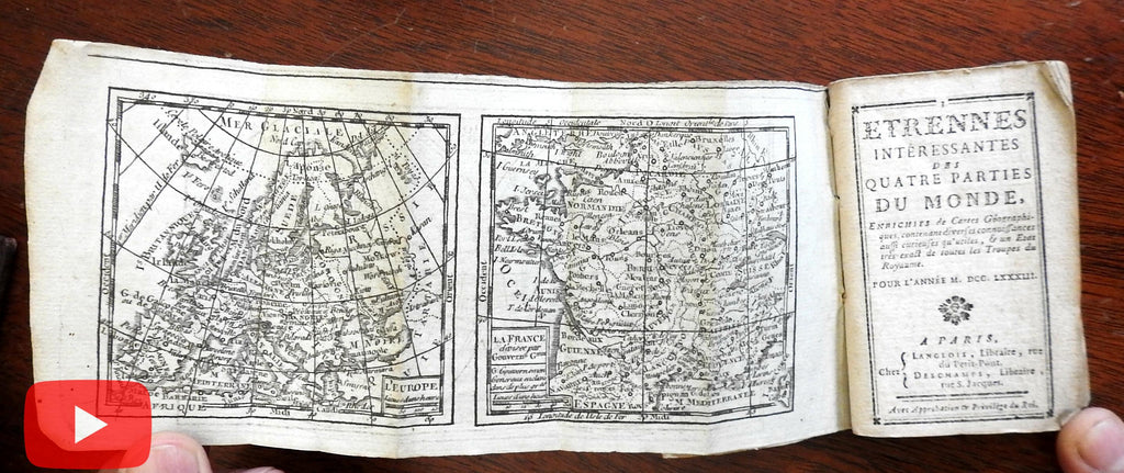 Rare pocket gazeteer almanac geographical atlas w/ maps 1783 Paris North America