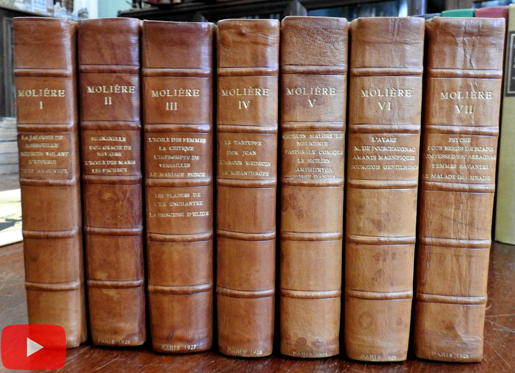 Moliere Works 1682/ 1920's Leather 7 volume set Illustrated lovely complete