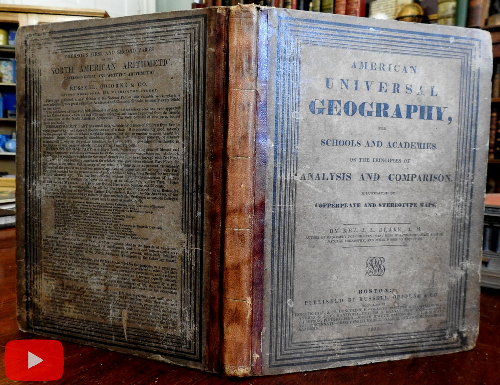 American Atlas & Geography Book 1833 Blake and Hazen Morse 12 color maps