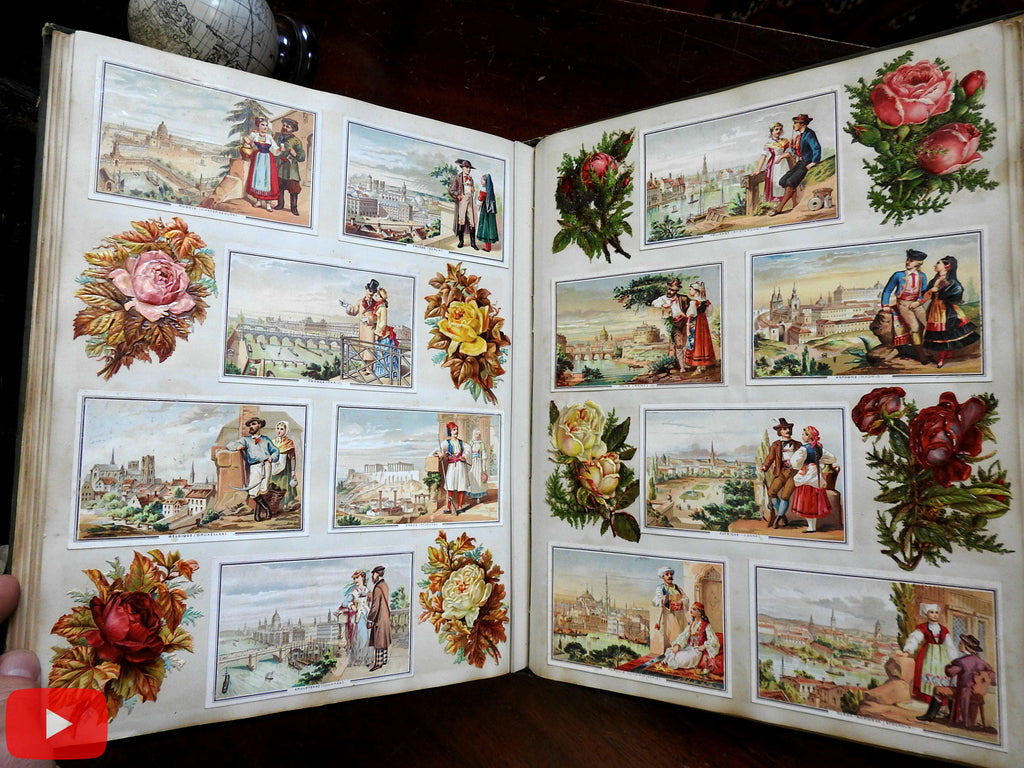 Scrap Book Album c.1880 Mary E. Howe of Marlow, NH 400+ chromo trade cards