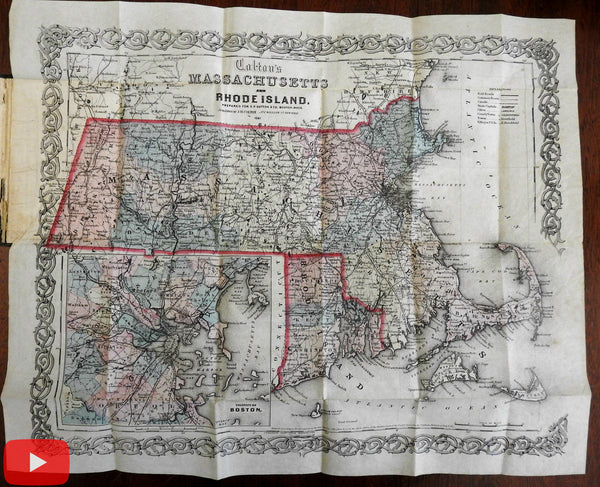 Pocket map 1861 E.P. Dutton Massachusetts & Rhode Island Colton rare fine