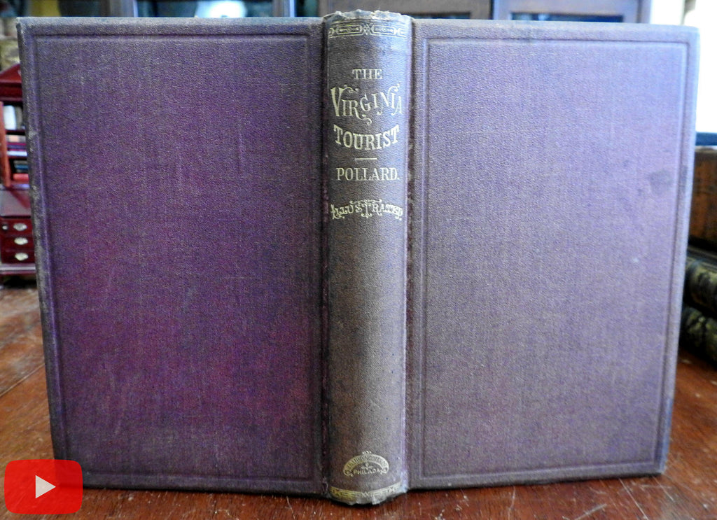 Virginia Tourist 1870 Pollard rare book w/ folding map Tourism hot springs