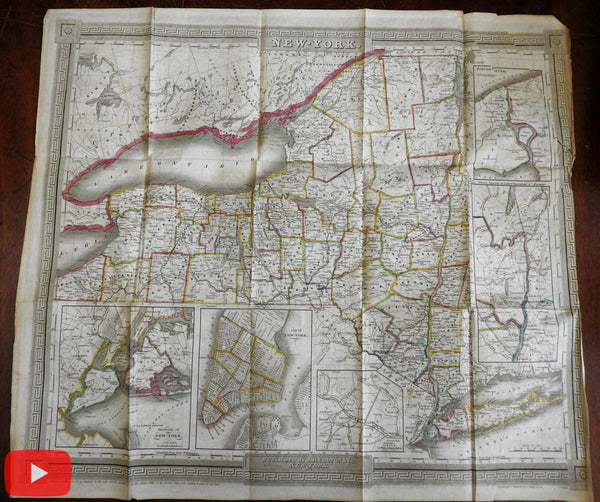 New York State c.1836 Overview History rare book w/ 68 maps & Burr Colton fldg map