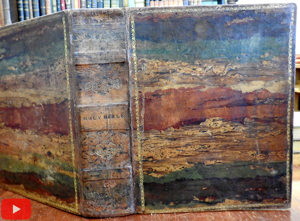 Family Holy Bible 1816-25 Boston multi-colored leather binding w/ plates rare