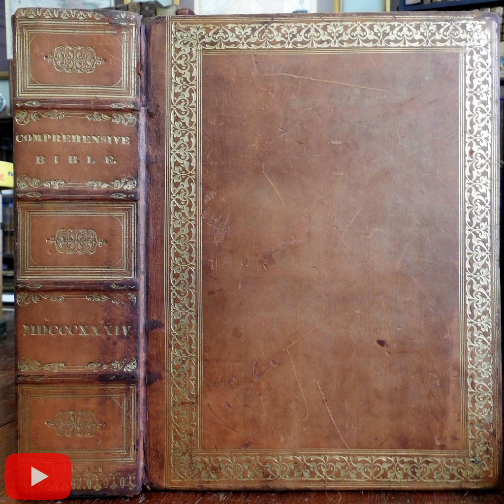 Bible comprehensive complete 1832 lovely large leather family Bible w/ lllustrations
