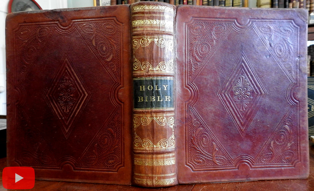 Family Bible 1847 huge lovely gilt leather book w/ wood engravings very nice
