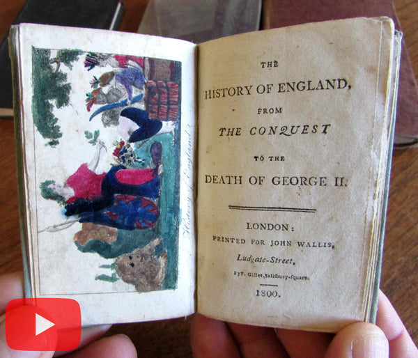 England History Kings Queens 1800 near miniature woodcuts hand color book