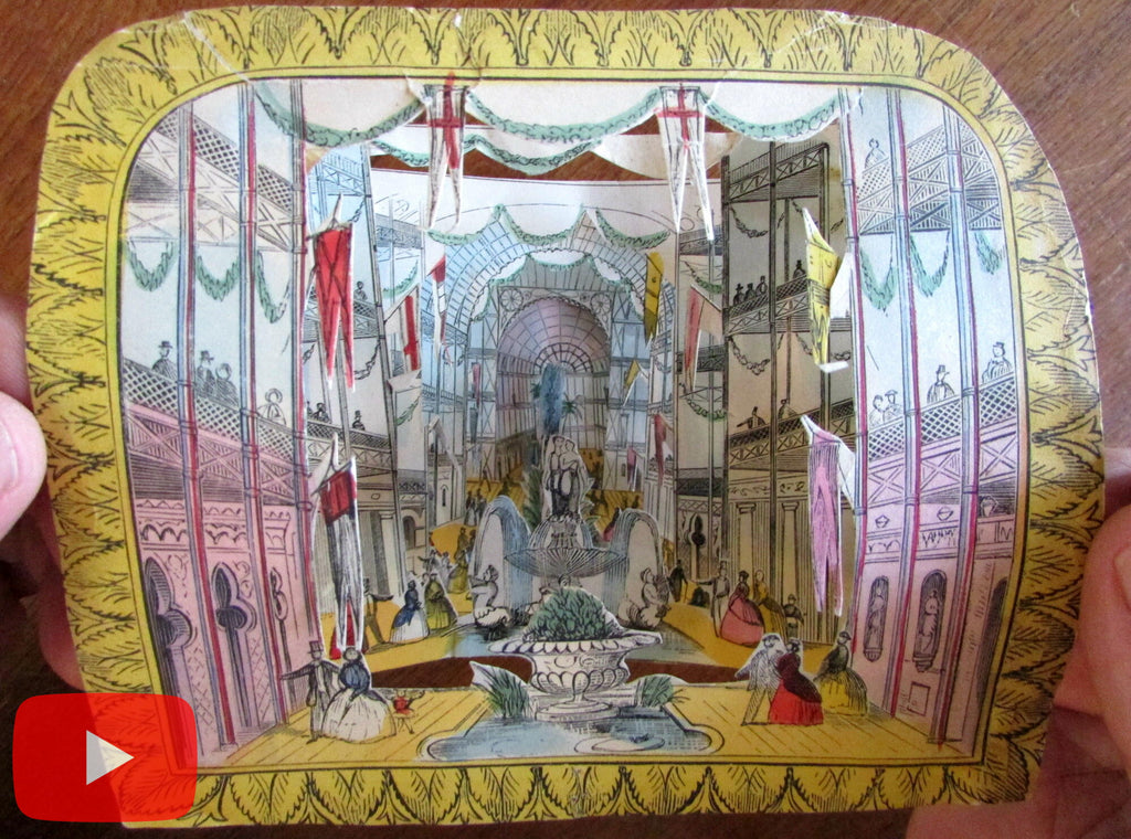 London Crystal Palace c.1851 Optical Toy diorama 3-D effect hand color rare