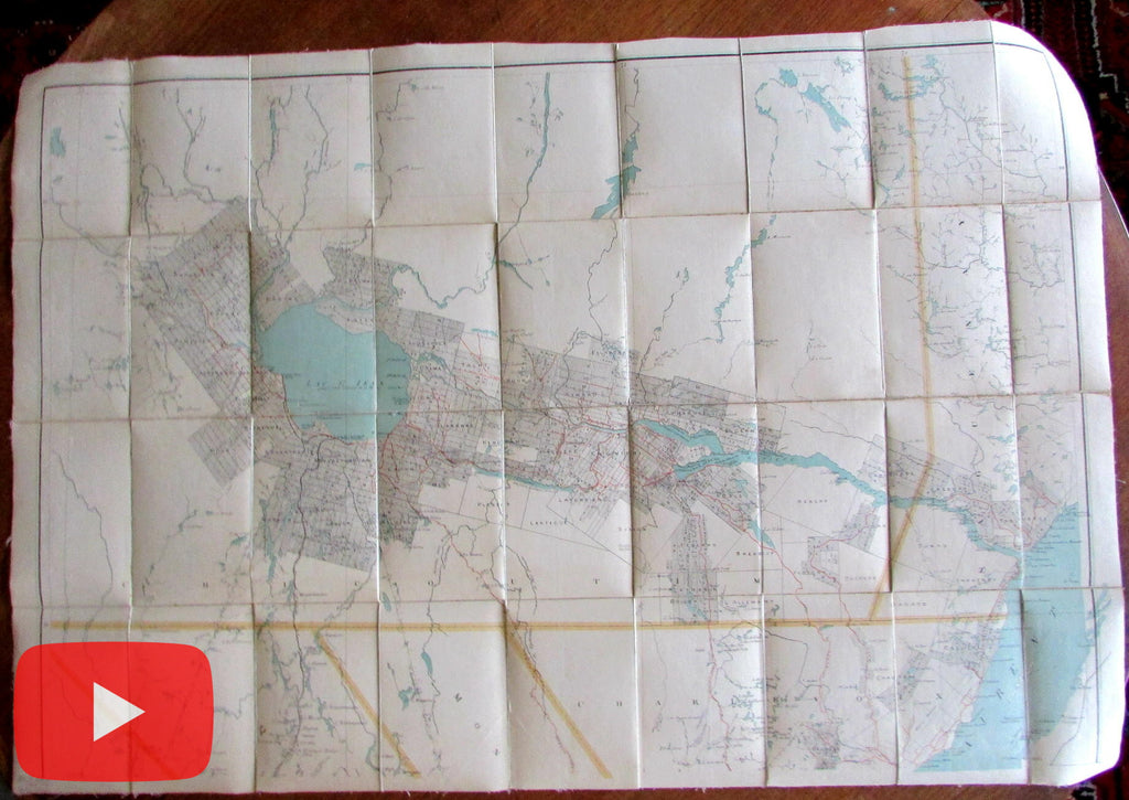 Canada Quebec Lake St. Jean c.1889 huge linen backed folding wall map