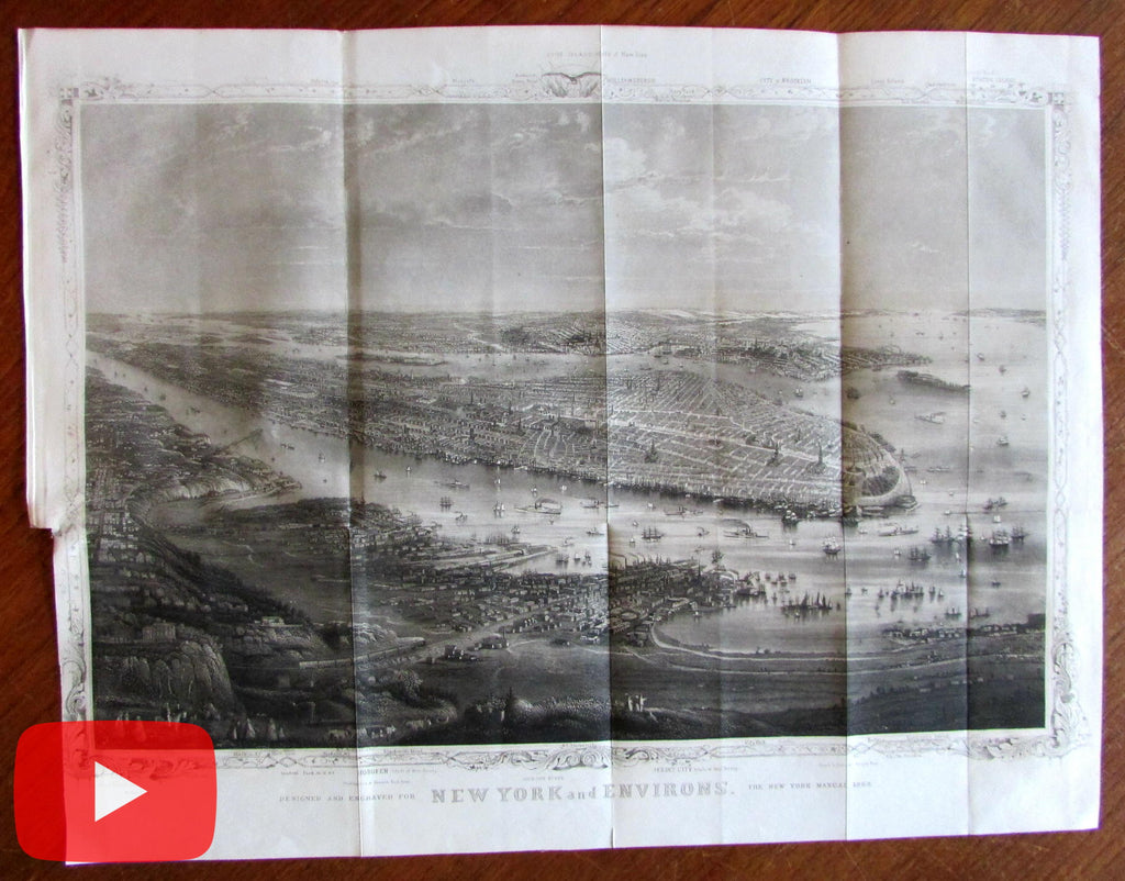 New York City 1868 Panoramic birds-eye view outstanding old engraved print