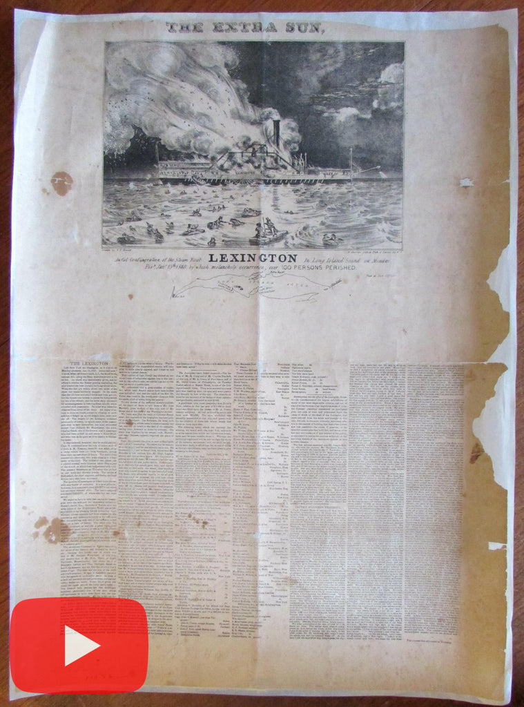 Nathaniel Currier 1840 Steam Boat Lexington Disaster Long Island Sound news print