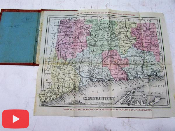 Connecticut scarce folding pocket map 1875 Butler Mitchell hand color antique compliment