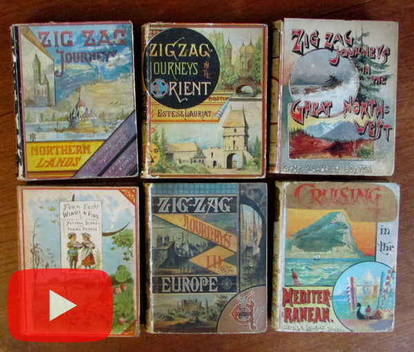 Juvenile old children's books 1880's era lot x 6 color litho covers illustrated