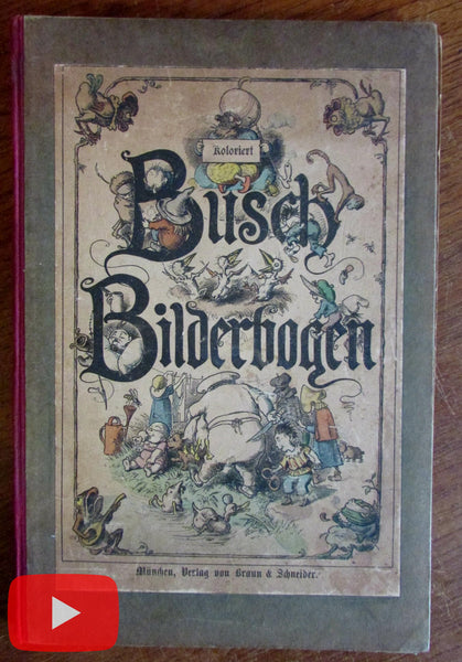 Wilhelm Busch Bilderbogen c.1880's cartoon hand color picture book x 25 plates