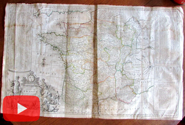Moll c.1720-30 France wall map huge Bowles Overton decorative old color