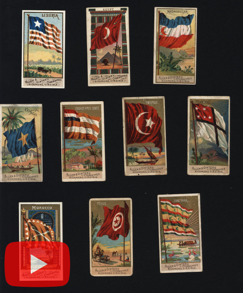 Africa Flags national 1887 lot x 10 miniature chromolithographed cards