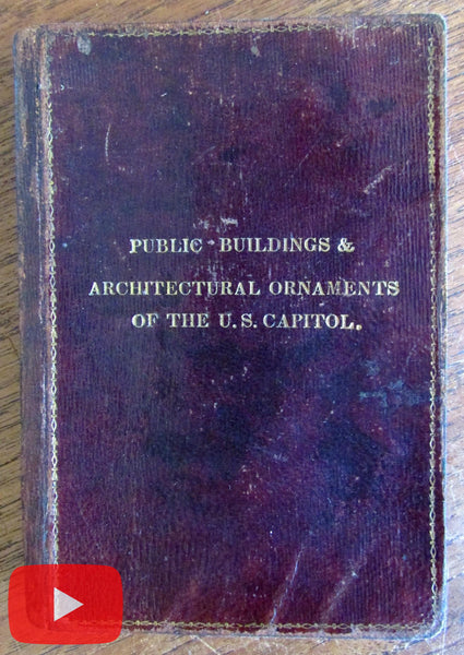 Washington D.C. 1839 guide book U.S. Capitol 22 litho plates Leather rare 1st