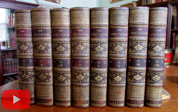 Spectator 1747 Addison Steele beautiful 8 vol leather set gilt decorative
