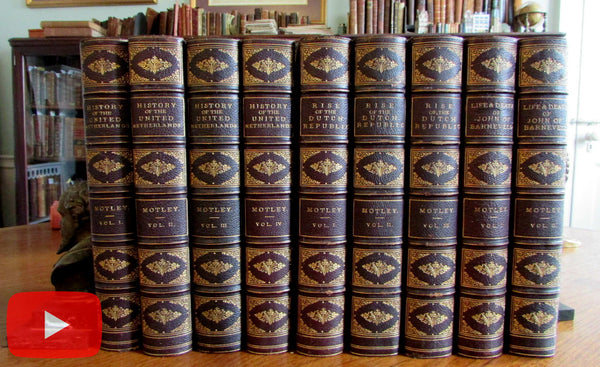 Motley fine leather set x 9 old books Dutch Republic Netherlands History