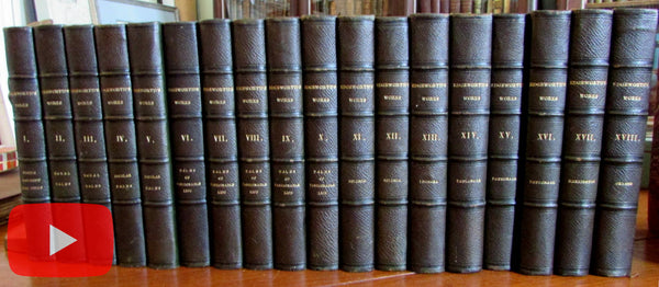 Maria Edgeworth set 18 vols 1832-33 green leather gilt fine old books